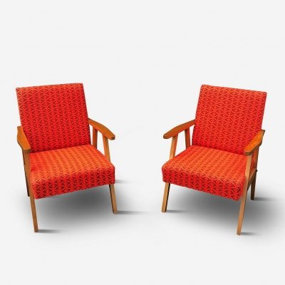 Pair of Armchairs in Red & Brown Wool, 1960s
