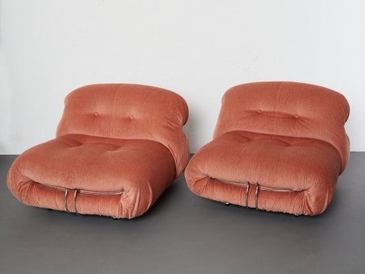 Pair of Soriana lounge chairs by Afra & Tobia Scarpa for Cassina, 1970