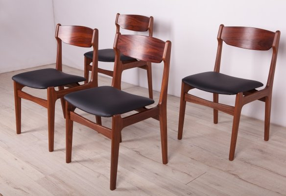 Set of 4 Mid-Century Rosewood & Teak Dining Chairs, 1960s