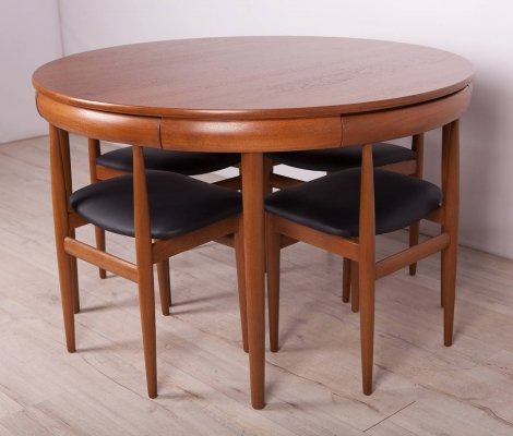 Mid-Century Teak Dining Table & Chairs by H. Olsen for Frem Røjle, 1960s
