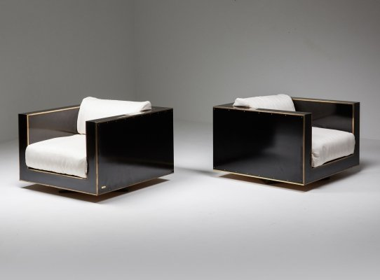 Maison Jansen Pair of Cubic Hollywood Regency Lounge Chairs in Black & Brass, 1970s