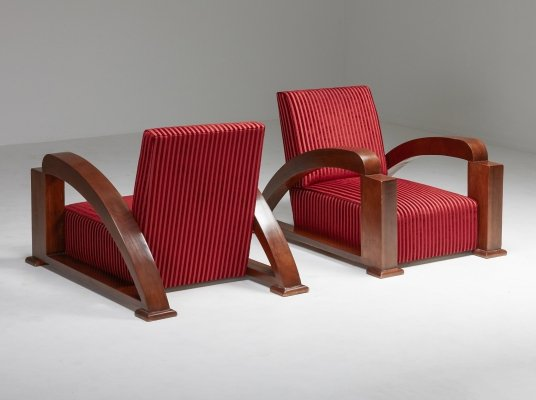 French Art Deco Lounge Chairs in Red Striped Velvet & Swoosh Armrests, 1940s