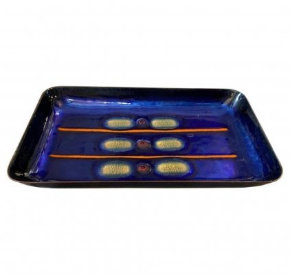 1960s Modernist Hand-Painted Enameled Copper Tray by Laurana