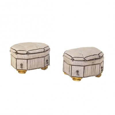 Pair of Italian Gray Containers in Gilded Wood & Silk, early 20th Century
