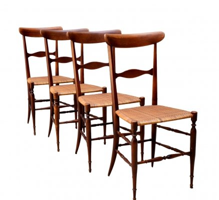 Set of 4 Model Campanino Walnut Dining Chairs by Fratelli Levaggi, 1960s