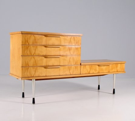 Ash burl & brushed steel low sideboard with drawers, 1960's