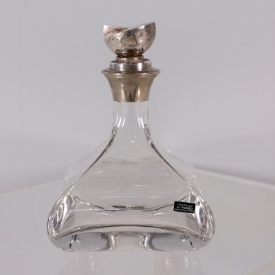 Cristal & silver plated liqueur decanter, Italy 1970's