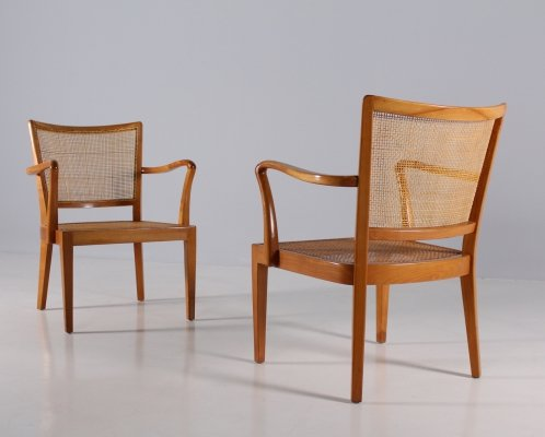 Pair of cherry wood & rattan modernist armchairs by Rudolf Frank for Erwin Behr, 1950s