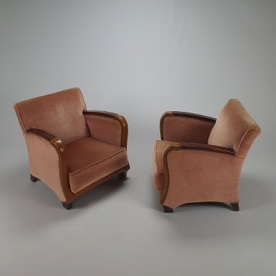 Set of 2 French Art Deco Armchairs, 1920s