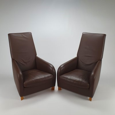Set of 2 Italian Leather Lounge Chairs by Molinari, 1990s