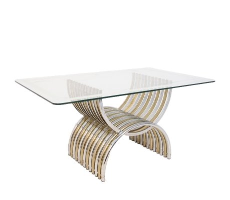 Romeo Rega Dining Table in Chromed & Brassed Steel with Glass