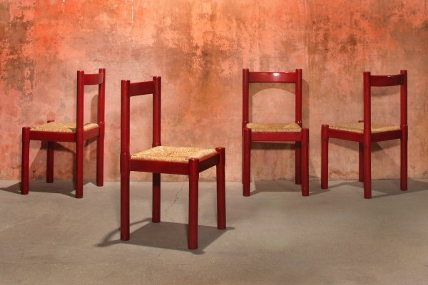 Vintage Red Carimate Dining Chairs by Vico Magistretti for Stendig, 1950s