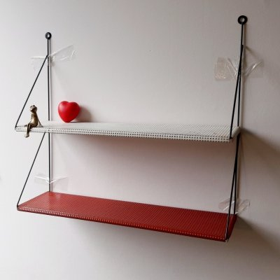 Wall mount book shelf in white/red perforated metal by Tjerk Reijenga