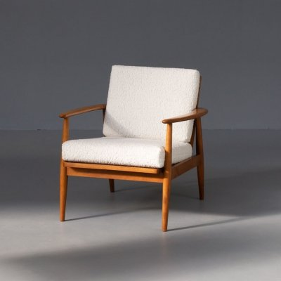 60s Teak lounge fauteuil with woolen 'teddy' fabric