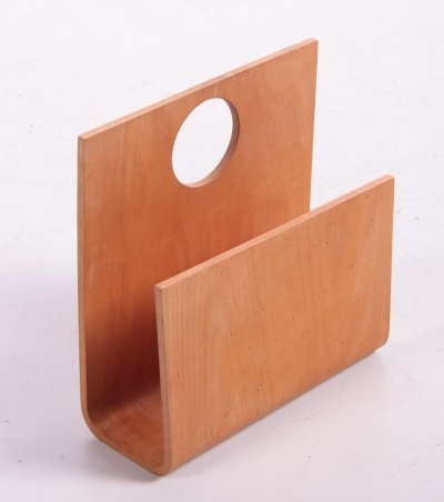 French magazine rack in wood, 1970s