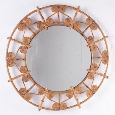 Large round rattan mirror with filigree peacock frame, Spain 1960s