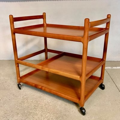 Danish Cherry Wood Bar or Serving Cart by Henning Korch for CFC Silkeborg, 1960s