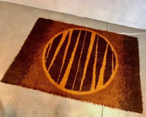 Danish Deep Pile Wool Rug with Abstract Graphic Decor, 1960s