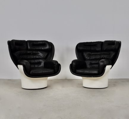 Pair of Elda Lounge Chairs by Joe Colombo for Comfort Italy, 1960s