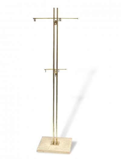 Brass Coat Stand With Ivory Marble Base by Renato Zevi, 1960s