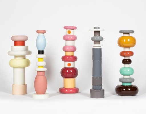 Rare (complete) series of five totems designed by Ettore Sottsass, 1990s