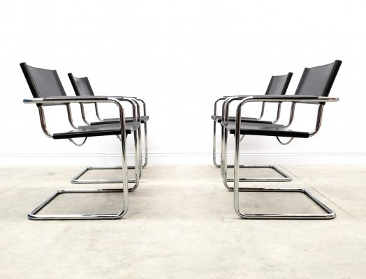 Bauhaus Leather Model MG5 Cantilever Chairs by Centro Studi for Matteo Grassi