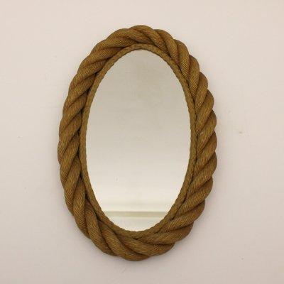 Rope mirror by Adrien Audoux & Frida Minet, France 1960s