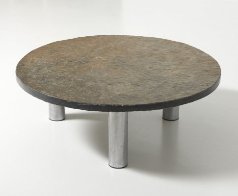 Round Coffee Table in Slate, 1970's