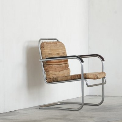 Early tubular chair with original upholstery, 1930s
