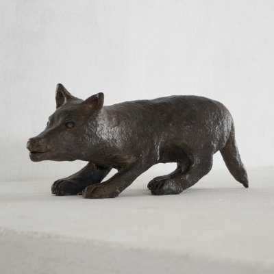 Dog sculpture in patinated clay, 1960s