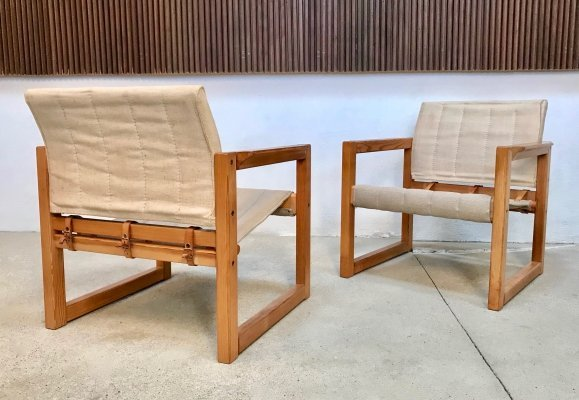 Pair of Pinewood & Canvas Diana Safari Chairs by Karin Mobring for IKEA, 1970s
