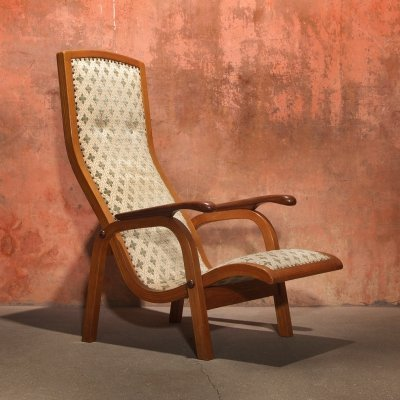 Vintage Mid Century High Back Lounge Arm Chair, 50s
