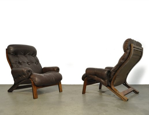 Sturdy leather 'Ry-Wing' lounge chairs by Elsa Solheim & Nordahl Solheim for Rybo Rykken, Norway 1970s