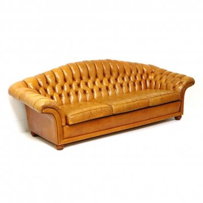 Large vintage Chesterfield sofa in cognac leather, 1960s