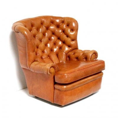 Large vintage Chesterfield wingback chair / armchair in cognac leather, 1960s