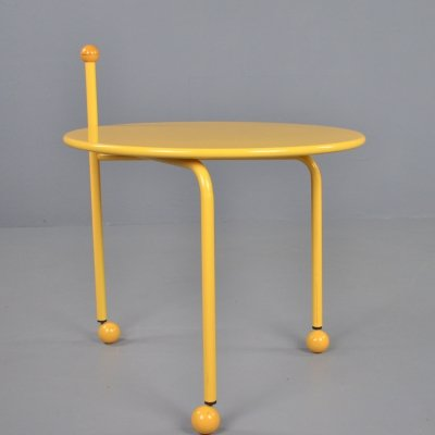 Ikea vintage yellow metal side table by Tord Bjorklund, 1986