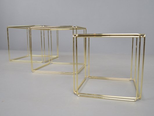 Atrow 'Isocele' gold nesting tables by Max Sauze, 1970s