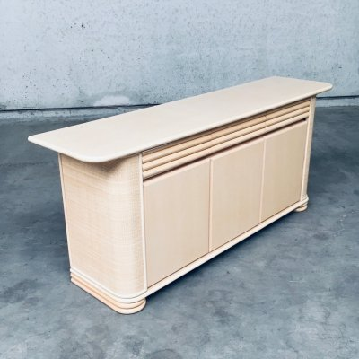 Postmodern Design Lowboard Credenza Signed by Roberti Rattan, Italy 1990's