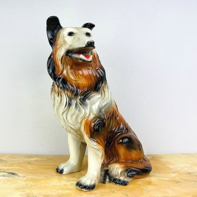 Vintage hand-painted Dog sculpture, Italy 1960s