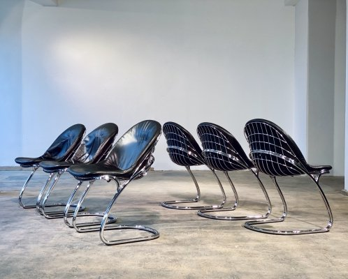 Set of 6 Gastone Rinaldi for Thema Italian Chrome Cantilever Dining Chairs