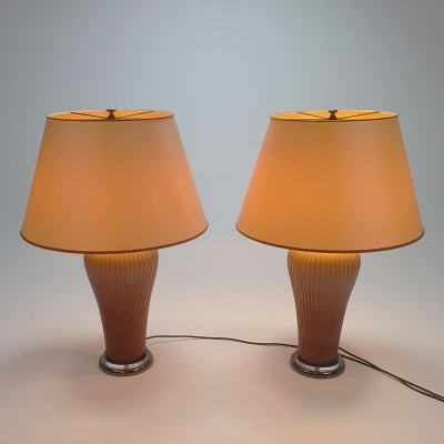 Set of 2 Old Rose porcelain table lamps by Giulia Mangani, 1990s