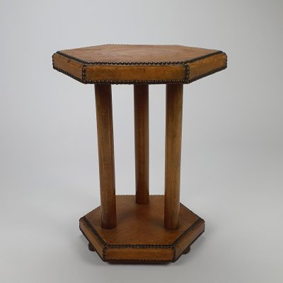 Scandinavian Bopoint side table in patinated leather, 1930s