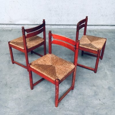1960's Midcentury Modern Orange Stained Wood & Paper Cord Dining Chair Set