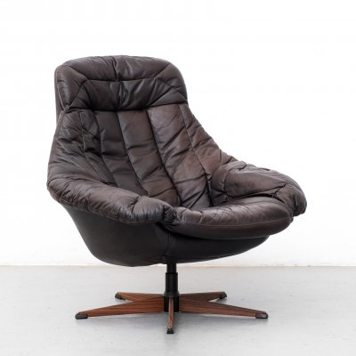 Leather armchair by H.W. Klein for Bramin, 1960s