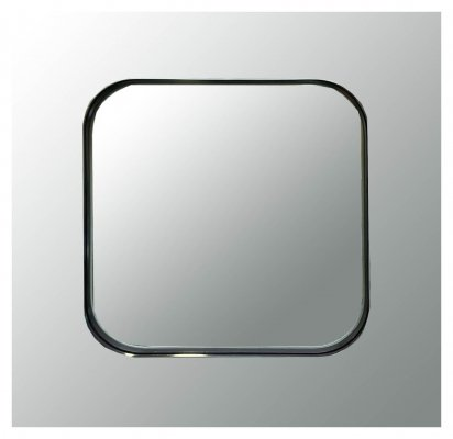 70s square Rimadesio wall mirror with engraved & silver cut crystal frame