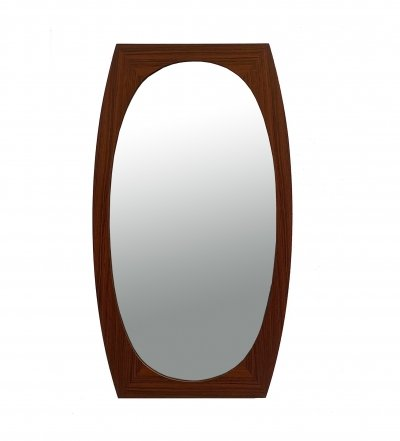Oval Mirror with Rosewood Frame, 70s