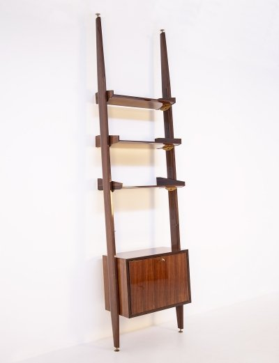Italian Bookcase in wood & Brass with bar cabinet