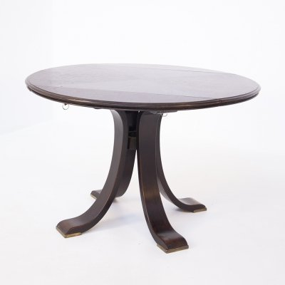 Italian Vintage Round Dining Table in wood & brass, 1950s