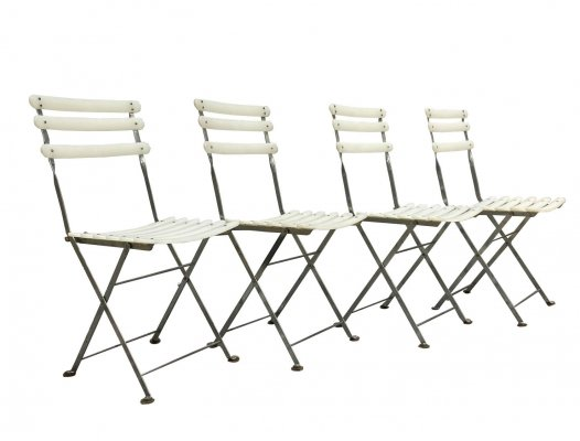 Set of 4 Emu Folding Chairs in Chrome & Ivory Plastic, 1970s