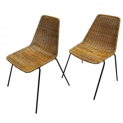 Set of two rattan chairs by the Swiss designer Gian Franco Legler, 1970